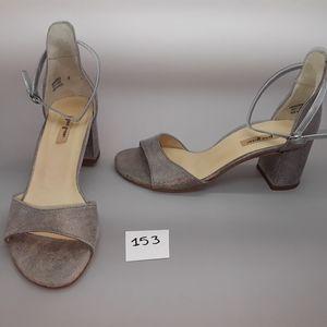 Paul Green Silver Leather Heel Women's Shoes